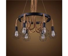 Ruanpu Vintage Seil Hängelampe Pendelleuchte Kronleuchter Industrielle E27 Sockel mit Korb für Wohnzimmer Esszimmer Restaurant Café Hotel Diele Dekoration (Keine Leuchtmittel)