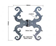 UHRIG ® Ladenband Scharnier Beschlag für Fenster Möbel Küche Truhe Garten Hof Tür Tor usw. aus Eisen antik Mittelalter (Scharnier 24,8x21,5cm #762)