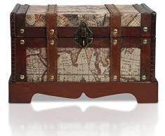 BRYNNBERG Holztruhe | Modell: Toronto | Schatzkiste im Vintage-Look | handgefertigte Unikate Schatztruhe | antikes Design | verschiedene Größen: klein, groß | Bauernkasse | Piratentruhe Pirat | (Toronto L 29x20x17cm)