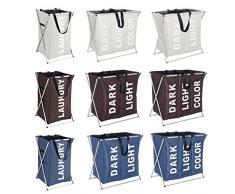 WENKO 3440111100 Wäschesammler Uno Beige - Wäschekorb, Fassungsvermögen 52 L, 100 % Polyester, 35 x 58 x 37 cm, Beige