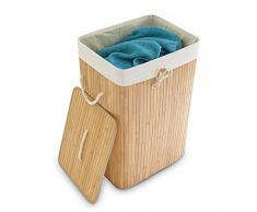 Relaxdays Wäschekorb Bambus, faltbare Wäschetruhe rechteckig, 83 L Volumen, HxBxT: ca. 65,5 x 43,5 x 33,5 cm, violett