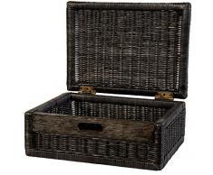 Korb mit Deckel Rattan geflochten Farbe Royal Schwarz, Regalkorb, Schrankkorb - Versandkostenfrei in DE