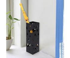 Songmics Schirmständer Regenschirmständer Wasserauffangschale und Haken werden verschenkt 49 cm schwarz LUC49B