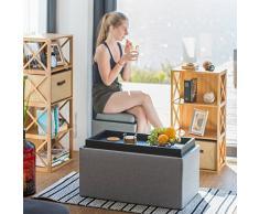 Relaxdays Sitztruhe mit Stauraum, H x B x T: 42,5 x 78 x 40 cm, Aufbewahrungsbox, Polster, Leinen Optik, dunkelgrau
