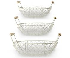 weißer Shabby Drahtkorb 3er Set Kartoffelkorb Holzhenkel Oval 25cm / 28,5cm / 31cm Dekokorb Metall