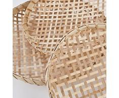 Schalen 3er Set rund Design Bambus 34-38-43cm natur