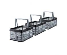 Grizzly 3 x Klappbox mit Griff - faltbar aus Kunststoff - Einkaufskiste klappbar und stapelbar 16L grau