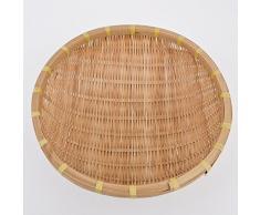 Schale rund Bambus Design 13x37x37cm natur Asia Dekoration