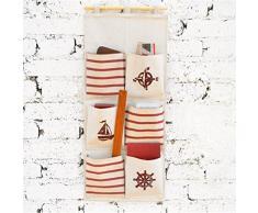 Yiuswoy Kreative Hängeaufbewahrung Stoff Wasserdicht Bad Aufbewahrungstasche,Wohnzimmer Schlafzimmer Wand Hängenden Beutel Tasche - Sechs Taschen Rot