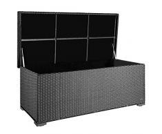 PREMIUM Sienna 650l Polyrattan Garten Kissenbox wetterfest (regnet nicht rein) 155 x 73 x 60 cm, Auflagenbox mit verstärktem Deckel und Gasdruckfedern, als Sitztruhe oder Tischplatte, Silber