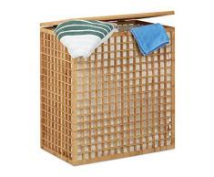 Relaxdays Wäschesammler 2 Fächer, eckige Wäschetruhe mit Wäschesack, Wäschesortierer mit 96 L, HBT: 62x56x35 cm, natur