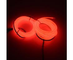 Lerway Rot 5M Kabel EL Wire Neon Leuchtet Tron Electroluminescent Beleuchtung Licht mit Batterie Box Weihnachten Nacht Party Rave Haus Garten