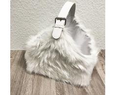 Eleganter Flaschenkorb Dekokorb Fellkorb Korb Wollkiste Aufbewahrungskorb mit weißem Kunstfell 30x30x20cm