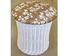 Hansen Korb 530/CL114 Wäschehocker Korb weiß aus Weide, mit abnehmbarem Deckel, Bezug: braun mit weißen floralen Elementen, Wäschehocker/Korb innen gefüttert, Artikelabmessungen: Durchmesser 45 H 44 cm