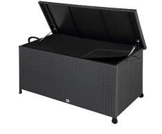 Deuba Auflagenbox 122x56x61 cm Poly Rattan Wasserdicht Rollbar 2 Gasdruckfedern Kissen Garten Box Truhe schwarz