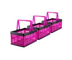 Grizzly 3 x Klappbox mit Griff - faltbar aus Kunststoff - Einkaufskiste klappbar und stapelbar 16L pink