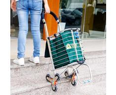 Baoyouni Faltbarer Einkaufswagen Treppenkorb Klettern Lebensmittel klappbar Allzweckwagen Transportwagen mit Rollen und abnehmbarer Aufbewahrungstasche platzsparend 6 Wheels With Green Shopping Bag