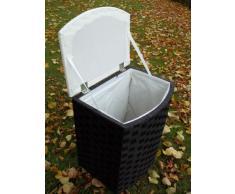 Sitzwäschetruhe Wäschekorb Wäschetonne aus Nylon, schwarz-weiß, Gr.1