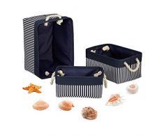 Relaxdays Aufbewahrungskorb 3er Set, Regalkorb in 3 Größen, gestreift, maritimes Muster, Stoffkorb mit Henkel, blau-weiß