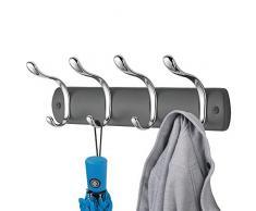 mDesign Hakenleiste aus Metall – Wandgarderobe mit vier Doppelhaken – zur Kleideraufbewahrung im Flur, Bad oder Schlafzimmer – dunkelgrau/silberfarben