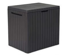 Keter Auflagenbox Gartenbox Gartentruhe Kissenbox Gartenmöbel Beistelltisch Spielzeugkiste Garten Box Kissentruhe Aufbewahrungsbox Anthrazit Holzoptik