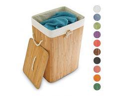 Relaxdays Wäschekorb Bambus H x B x T: ca. 65,5 x 43,5 x 33,5 cm faltbare Wäschetruhe rechteckig mit einem Fassungsvolumen von 83 L mit Wäschesack aus Baumwolle zum Herausnehmen als Wäschepuff, natur
