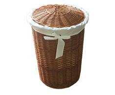 Wäschepuff, Wäschetruhe, Wäschekorb, aus Vollweide, Höhe 630 mm, Durchmesser 480 mm