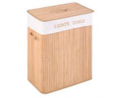 GOPLUS Wäschekorb aus Bambus, Wäschessammler 105L, Wäschebox mit 2 Fächern, Wäschetonne, Faltbare Wäschetruhe, Farbwahl 64 x 54 x 33 cm (Natur)