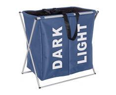 WENKO 3440023100 Wäschesammler Trio Blau - Wäschekorb, Fassungsvermögen 130 L, 100 % Polyester, 63 x 57 x 38 cm, Blau