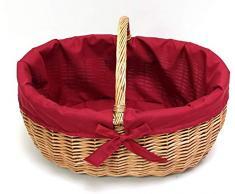 SIDCO Einkaufskorb Bügelkorb Füllkorb Tragekorb Weide Flechtkorb weiß Textileinlage