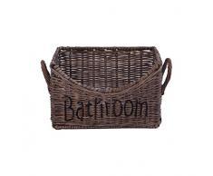 Aufbewahrungsbox Bathroom XL Korb Deko Badezimmeraccessoire ca. 32 x 22 cm Rattan