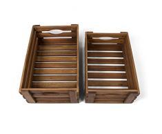 Park Alley Holzkiste für Obst und Gemüse | 2er Set | Aufbewahrungskisten aus FSC® 100% Akazienholz geölt | Kiste für den Garten, Apfelkiste oder Kartoffelkiste brauchbar in natur