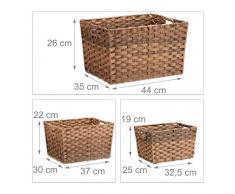 Relaxdays Aufbewahrungskörbe Set groß, 3-Teilig, Geflochtene Boxen, Aufbewahrungsboxen für Regale, Flechtkorb, Natur