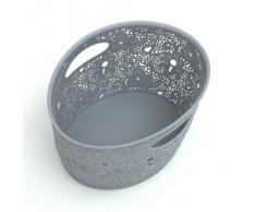 Formschöner Korb lichtgrau Dekokorb Spitzenkorb Dekorationsmotiv Behälter H 10,5