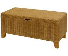 korb.outlet Sehr stabile Bett-Truhe/Wäschetruhe auf Holzrahmen, Sitzbank aus Natur-Rattan in der Farbe Honig (120)