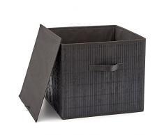EZOWare Aufbewahrungsbox aus Bambus Groß Deko Faltbox Aufbewahrungskorb mit Griffen und Abnehmbar Grauer Stoff Innenliner 38 x 38 x 33 cm, Schwarz