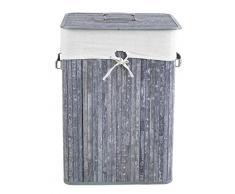Home4You Wäschetonne Wäschesammler Wäschebox Launder | Bambus | Grau | 40x60x30 cm