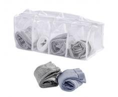 WENKO 63055100 Socken-Wäschenetz, 4 Fächer, Polyester, 17 x 40 x 17 cm, Weiß