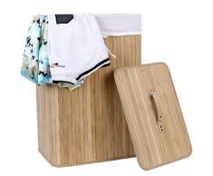 Songmics Wäschekorb aus Bambus Faltbar Wäschetonne mit herausnehmbarem Wäschesack 72 L (60 x 40 x 30 cm) naturfarben LCB102