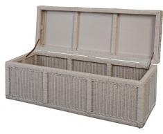 korb.outlet Großer Wäschekorb/Wäschetruhe auf Holzrahmen, Truhe aus Natur-Rattan 118x45x45 in der Farbe Weiss
