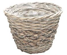 Weidenkorb Pflanztopf Creme grau rund 3 Stück Dekokorb Set Geschenkkorb Übertopf Umtopf