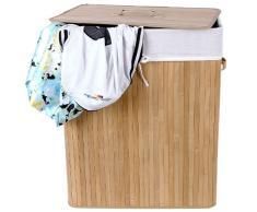 Songmics 100 L Bambus Faltbar Wäschekorb H x B x T: ca. 62,5 x 52 x 32 cm Wäschebox Wäschesammler mit Wäschesack aus Baumwolle zum Herausnehmen LCB63Y