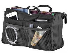 Xcase Taschenorganizer: Handtaschen-Organizer m. 13 Fächern, 29 x 17 x 8 cm, waschbar, schwarz (Ordnungshelfer für Handtasche, Messenger Bag, Rucksack, Reisetasche)