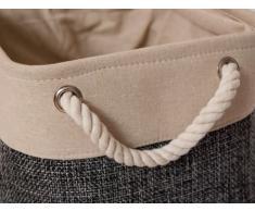 Stoffkorb grau mittel Dekokorb Aufbewahrungskorb Behälter Seilgriff