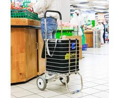 BAOYOUNI Faltbarer Einkaufstrolley Einkaufswagen Treppenkorb Klettern Lebensmittel klappbar Allzweckwagen Transportwagen mit Rollen und Abnehmbarer Aufbewahrungstasche platzsparend 2 Räder Schwarze