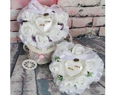 Lamdoo Ring Box Blätter Flower Kissen Dekoration Hochzeit Schmuck Geschenke Romantische, Nylon, grün, 15x15x9cm(5.91x5.91x3.54in)