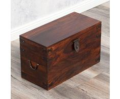 Massivholz Truhe TARUN 42cm dark-brown Akazie Holztruhe Holzkiste Couchtisch
