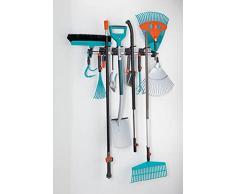 GARDENA combisystem-Gerätehalter: Platzsparende Aufbewahrung für Haus- und Gartengeräte, passend für GARDENA combisystem-Geräte und -Zubehör, Wand-Hakenleiste aus Aluminium (3501-20)