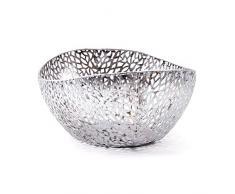 DEKO SCHALE PLATA | Metall, antik-silber, 36 cm, organische Form | Obstkorb, Korb