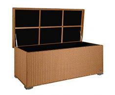 PREMIUM Sienna 650l Polyrattan Garten Kissenbox wetterfest (regnet nicht rein) 155 x 73 x 60 cm, Auflagenbox mit verstärktem Deckel und Gasdruckfedern, als Sitztruhe oder Tischplatte, Natur